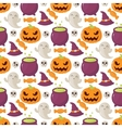 Seamless halloween pattern with skulls pumpkins vector image