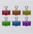 set of colorful realistic document clips isolated vector image vector image