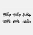 set vintage motorcycles silhouettes vector image vector image