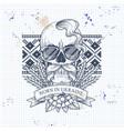 skull with ukrainian symbols vector image