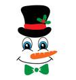 snowman face icon funny in black hat big vector image vector image