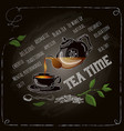 tea time card with cup and teapot vector image vector image