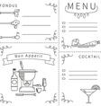 Template menu fondue black white vector image vector image