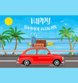 vehicle transport with surfboard and suitcases vector image vector image