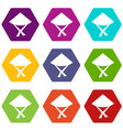vietnamese hat icon set color hexahedron vector image vector image