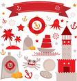 Vintage scrap nautical set cute sea objects Red vector image