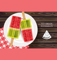 watermelon ice cream on white plate vector image vector image