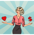 Woman Making a Choice Between Love and Money vector image vector image