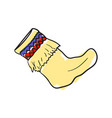 woolen sock hand drawn isolated icon vector image vector image