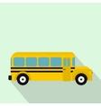 Yellow school bus icon flat style