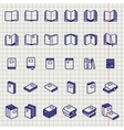 Education icons of books on notebook page vector image