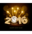 Happy New Year background with 2016 a clock and vector image