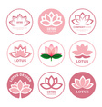 Lotus blossom icons and logos Identity style for vector image