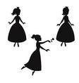 set of silhouettes of princess set of silhouettes vector image