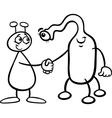 aliens cartoon for coloring book vector image vector image