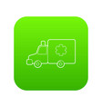 ambulance icon green vector image vector image