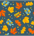 autumn floral seamless pattern with oak and maple vector image