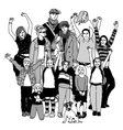 Big happy family group standing isolate black and vector image vector image