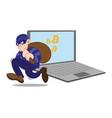 bitcoin cyber thief vector image vector image