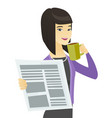 business woman with cup of coffee and newspaper vector image vector image