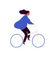 carefree cartoon woman bicyclist with waving hair vector image vector image
