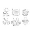 catering service hand drawn retro labels set food vector image vector image