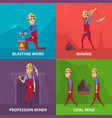 concept of miners characters at work vector image vector image