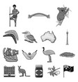 country australia monochrome icons in set vector image vector image