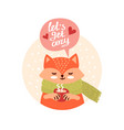 cute fox with cup vector image vector image