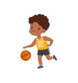 cute little african american boy playing basketbal vector image vector image