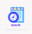 deadline thin line icon clock and calendar vector image