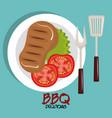 delicious meat beef bbq menu vector image vector image
