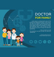 doctor woman and kids background poster landscape vector image vector image