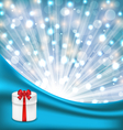 gift box with red bow on glowing background vector image