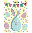happy easter greeting card with a cute rabbit or a vector image