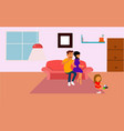 happy family father mother and daughter playing vector image