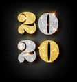 happy new year 2020 greeting card with gold and vector image