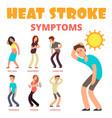 heat stroke symptoms cartoon poster vector image vector image