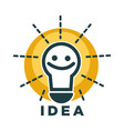 idea lamp or light bulb with smile face icon vector image