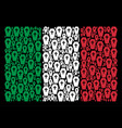 italian flag mosaic of coffin items vector image vector image