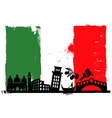 Italy flag and silhouettes vector image