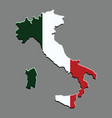 italy map with the italian flag vector image