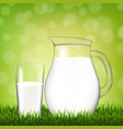 jug with glass and grass border vector image vector image