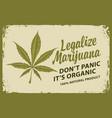 legalize marijuana retro banner with hemp leaf vector image vector image
