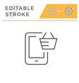 mobile purchasing editable stroke line icon vector image