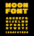 moon font yellow letters of moon texture alphabet vector image vector image