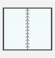 open notebook with spiral and blank cell paper vector image vector image
