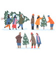 people preparing for holiday celebration set vector image vector image
