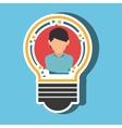 person inside bulb design vector image