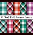set 10 check plaid seamless pattern in lime vector image